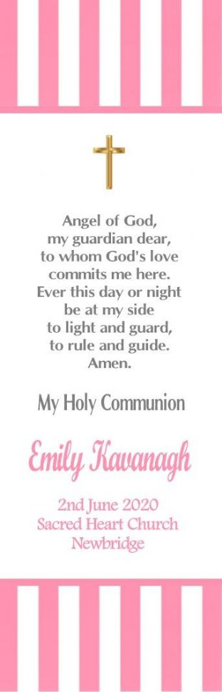 Pink Stripe Communion or Confiramtion Bookmark